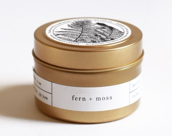 Fern + Moss Gold Travel Soy Candle