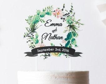 SALE Personalized topper cactus wreath | wedding cake topper | cactus wedding | name date topper | calligraphy topper | custom wedding decor