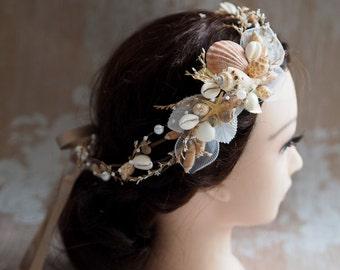 Couronne de fleur mariée, accessoire de coiffure mariage plage, étoile de mer accessoire de cheveux, couronne de mariage de plage, sirène Couronne, couronne de fée