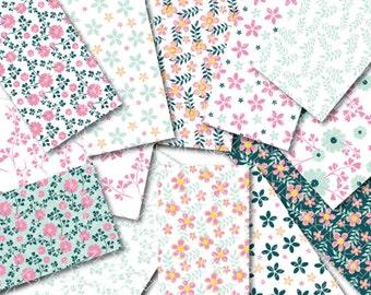 TELECHARGEMENT IMMEDIAT Papier digital de 12 feuilles thème fleuri pour scrapbooking, tag, invitation, décoration, créations.
