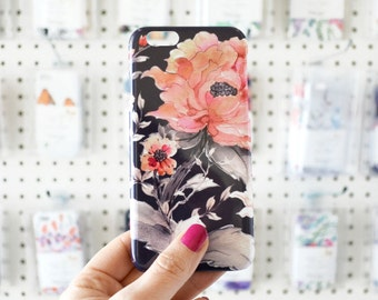 Watercolor Phone Case iPhone 7 SE 6+ Red Floral Samsung Galaxy S7 Watercolor Peony Phone Case Gift for Her Mom Gift Ideas floral phone cover
