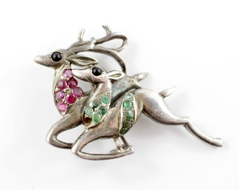 Vintage Deer Brooch, Christmas Reindeer Brooch, Woodland Jewellery, Stag and Doe Pin, Fawn Brooch