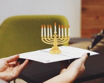Hanukkah Menorah Pop-up Card; Happy Hanukah Card, Hebrew Card, Festival of Lights, Feast of Dedication, Jewish Greeting Card, Lovepop