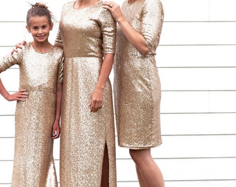 Women's Short Gold Sequin Dress