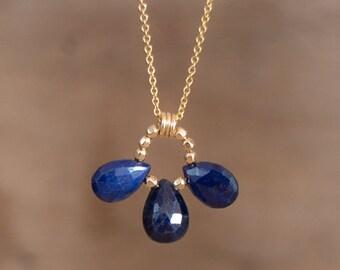 Sapphire Trio Necklace, Genuine Sapphire Necklace, September Birthstone, Gemstone Jewellery, Silver Gold Sapphire Jewelry, Wife Gift