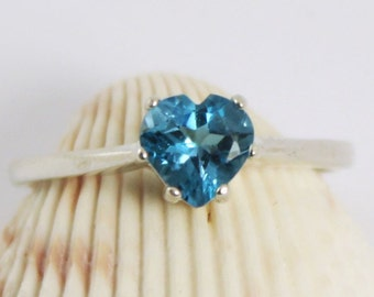 SALE, Blue Topaz Ring, Heart Ring, Solitaire Ring, Blue Topaz Silver Ring, Silver Blue Topaz Ring, Topaz Heart Ring, Blue Gemstone Ring