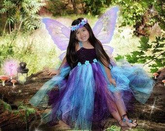 Girls fairy dress & matching headpiece - tutu dress - flower girl - fairy costume