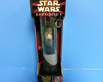 Star wars Episode I C- 3PO Collector Watch with light Saber display case