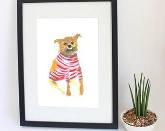 Pet Portrait. Funny, unusual original custom pet portrait painting. Wonky Pet Portrait.