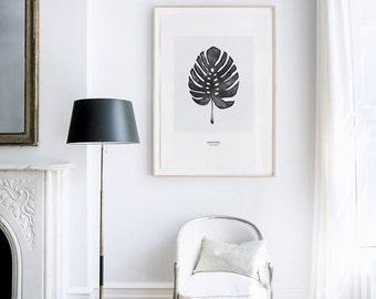 Monstera, Cheese Plant Leaf - PRINTABLE FILE. Tropical Leaf Printable Poster. Monochrome Art. Nordic Minimalist Print. Scandinavian Style.