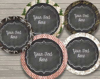 50% OFF SALE Round Holiday Labels {Editable} Christmas - Instant Download - Personalize - Custom - Notes - Cards - Tags