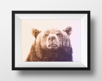 Grizzly Bear Forest Home Decor Wall Art Print