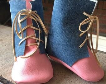 Denim & Pink Moccasin Boots