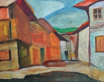 Vintage oil painting street landscape signed
