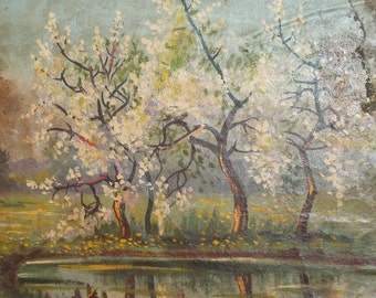 Landscape blooming trees antique oil painting