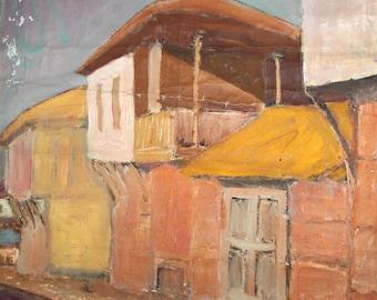 Cityscape landscape antique oil painting