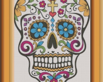 Sugar Skull No. 3/PDF - Cross Stitch Sampler - Dia De Los Muertos - Day of the Dead - INSTANT DOWNLOAD