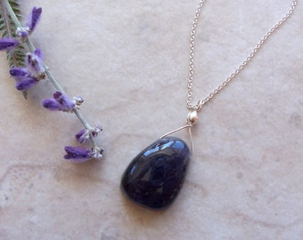 "Tanzanite Gemstone Pendant on Delicate Sterling Silver Chain Necklace ~ 17"" ~ December Birthstone"