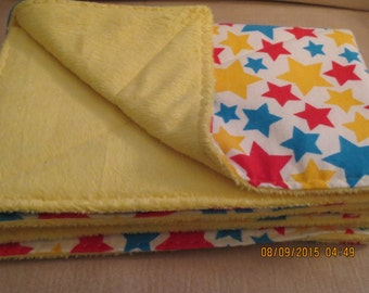 Baby Burp Cloths - Red, Blue & Yellow Stars