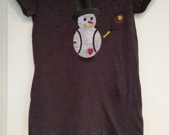 Snowman with tennis racket t shirt
