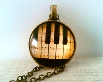 Piano Keys Necklace Music necklace Glass tile necklace Domed glass necklace Digital Image Necklace Vintage style necklace Gift