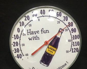 Vintage NuGrape Soda Advertising Thermometer