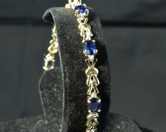 Lab Created Sapphire and Diamond Bracelet ~ 14k Yellow Gold