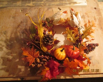 Fall candle wreath centerpiece