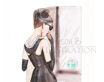 Fashion illustration print -Audrey Hepburn-print - Holly Golightly - breakfast at tiffanys - Tiffanys - wall art- home decor- fashion sketch