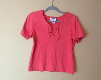 Small Drawstring Shirt ~ 1980s Vintage