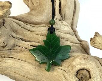 Canadian Jade Maple Leaf Pendant