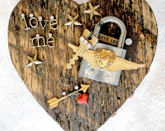 LOVE ME – Salvaged Wood Heart