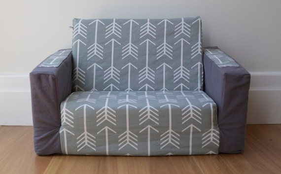 kids flip out sofa cover grey with white arrows and grey base. Black Bedroom Furniture Sets. Home Design Ideas