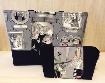 large tote bag with large pouch set