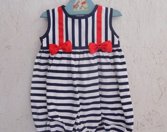 Vintage Baby Clothes Girls Bubble Romper Sunsuit with Bows by Sylvia Whyte Size 24 Months