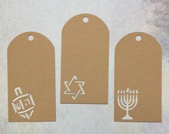Kraft Hanukkah Gift Tags - Dreidel, Star of David, Menorah - Chanukah Tags - Hannukah Gift Tags - Hannukkah Gifts - Channukah