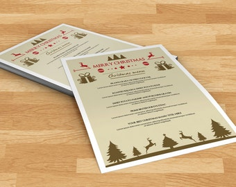 Christmas Menu Template | Holiday Party food menu | Instant Download | PF-014