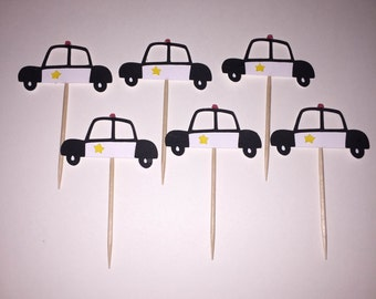 12 Police Car Cupcake Toppers, Birthday, Baby Shower, Gender Reveal Party Decorations