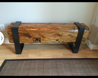 Reclaimed Beam and Steel Bench/Coffee Table