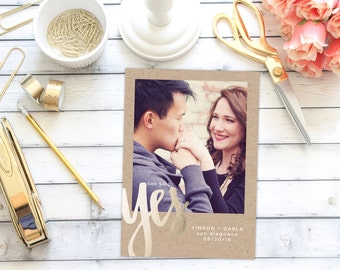 Save the Date Announcement   Save the Date   Invitation   One Photo   She Said Yes   Faux Foiling   Gold Foiling   Simple   DIY   Printable