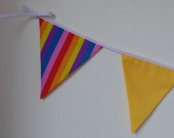 Rainbow Mix Bright Coloured Bunting - Summer Holidays Room Decoration