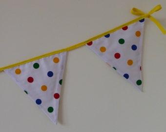 Bright Spotty Bunting - Birthday bunting, Nursery Bunting, Baby Bunting, Bright Bunting. Colourful bunting, bunting, children in need