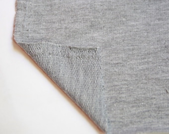 FRENCH TERRY Fabric: Heather Grey Terry Knit  Fabric. Sold by the yard
