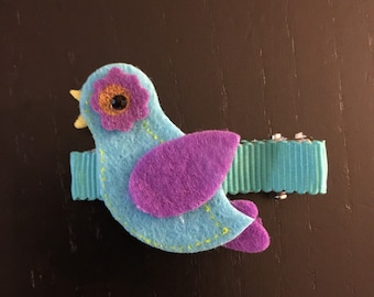 Blue bird hair clip