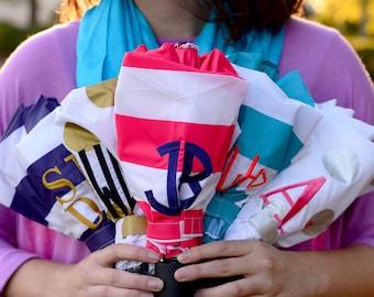 Monogram umbrella, compact umbrella, Personalized umbrella, polka dots, solids and stripes