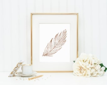 Rose Gold Glitter Effect Feather | 8x10 Digital Printable