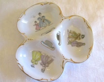 1950s Lefton Divided Candy Trinket Dish, Victorian Dress Candy Dish - Japan