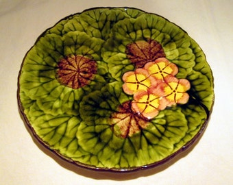 Vintage CICO Hand Painted Majolica Geranium Plate - Made in Germany
