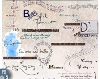 Les Petits Bonheurs - WordArts et Tags - digiscrap