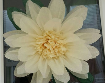 1x Large 43cm Ivory Tissue Paper Flowers(pom-pom) Wedding/PartyCenterpiece